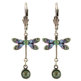 Anne Koplik Dragonfly Crystal Earrings, Silver Plated