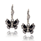 Anne Koplik Ornate Black Butterfly Enamel Earrings, Silver Plated with Crystal