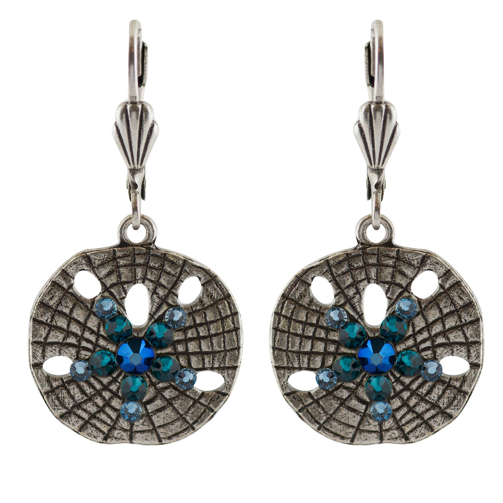 Anne Koplik Sand Dollar Crystal Earrings, Silver Plated
