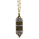 Anne Koplik Mezuzah Necklace, Gold Plated Hebrew Jewish Pendant with Swarovski Crystal