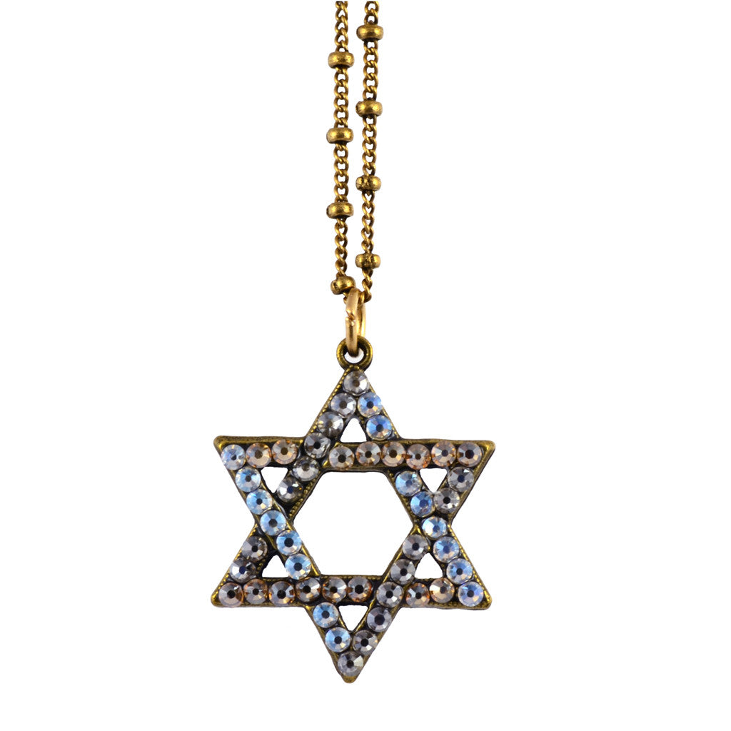 Anne Koplik Star of David Necklace, Gold Plated Pendant with Swarovski Crystal