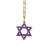 Anne Koplik Crystal Star of David Pendant Necklace, Antique Gold Plated