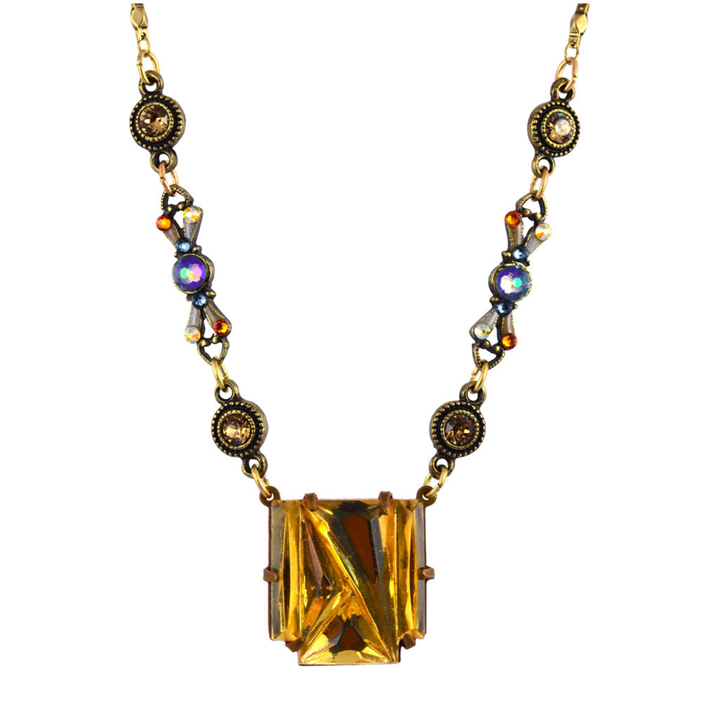 Anne Koplik Thin Bow Art Deco Necklace, Gold Plated with Vintage Glass