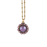 Anne Koplik Round Circle Dark Red Crystal Necklace, Antique Gold Plated