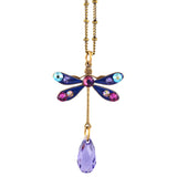 Anne Koplik Small Multicolor Dragonfly Drop Necklace, Antique Gold Plated