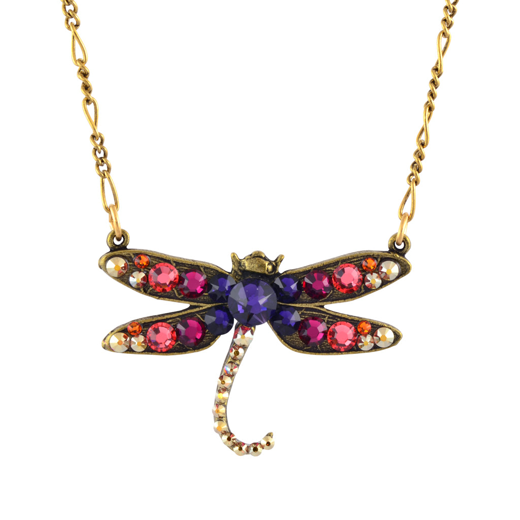 Anne Koplik Curly Tail Dragonfly Pendant Necklace, Antique Gold Plated