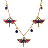Anne Koplik Purple Crystal 3 Dragonfly Necklace, Antique Gold Plated