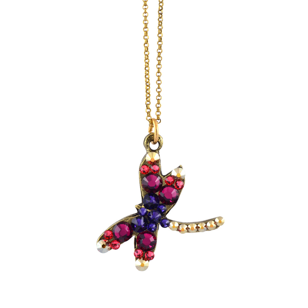 Anne Koplik Curly Dragonfly Necklace, Antique Gold Plated