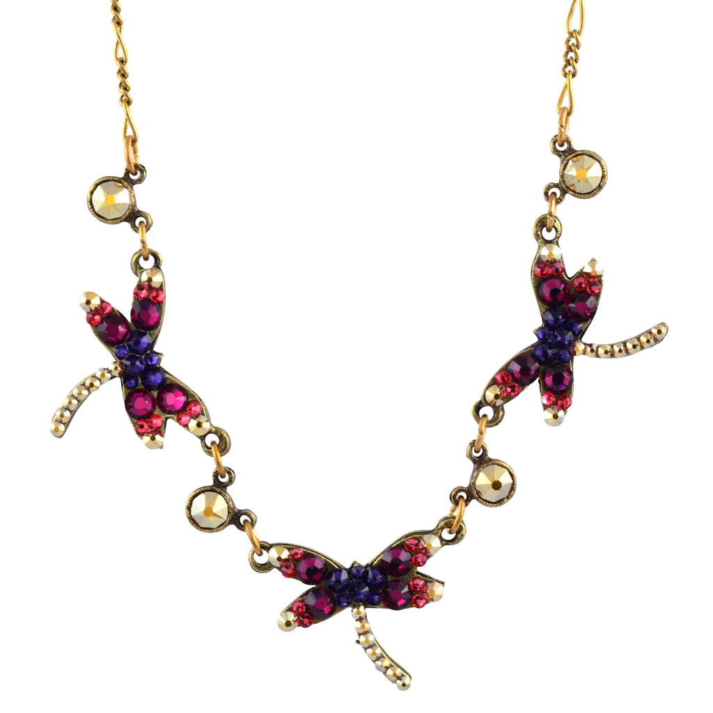 Anne Koplik 3 Dragonfly Crystal Necklace, Antique Gold Plated