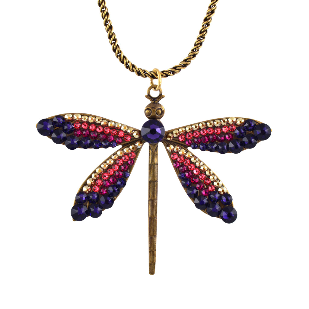 Anne Koplik Large Dragonfly Crystal Necklace, Antique Gold Plated
