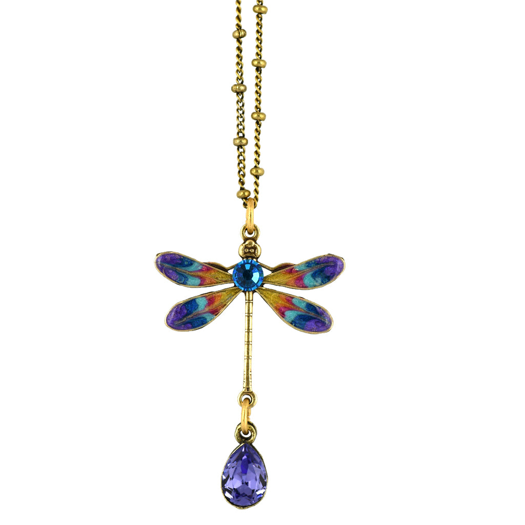 Anne Koplik Dragonfly Necklace, Gold Plated Purple Pendant