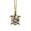Anne Koplik Sea Turtle Pendant Necklace, Antique Gold Plated