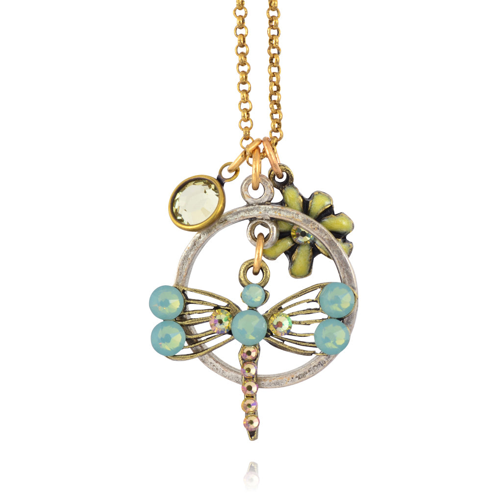 Anne Koplik Dragonfly and Flower Jumble Necklace, Gold Plated Pendant