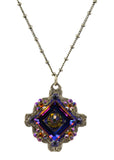 Anne Koplik Square Necklace, Silver Plated Pendant with Swarovski Crystals, 18