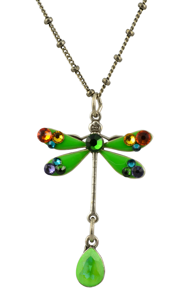 Anne Koplik Dragonfly Necklace, Silver Plated Pendant with Swarovski Crystals, 18""