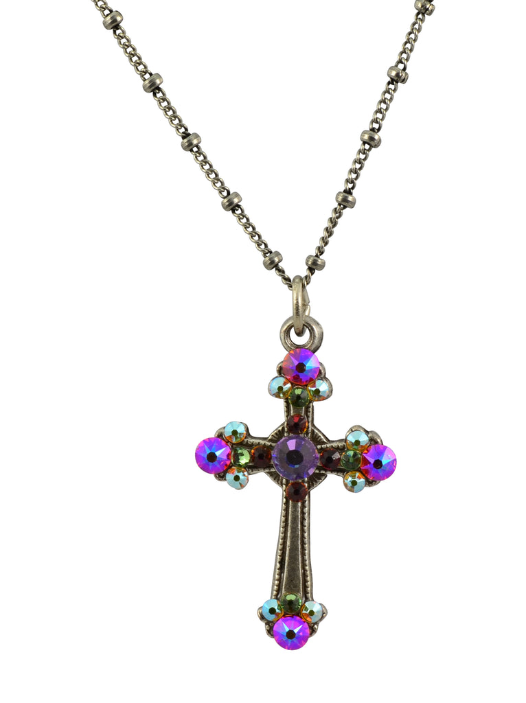Anne Koplik Cross Necklace, Silver Plated Pendant with Swarovski Crystals, 18""