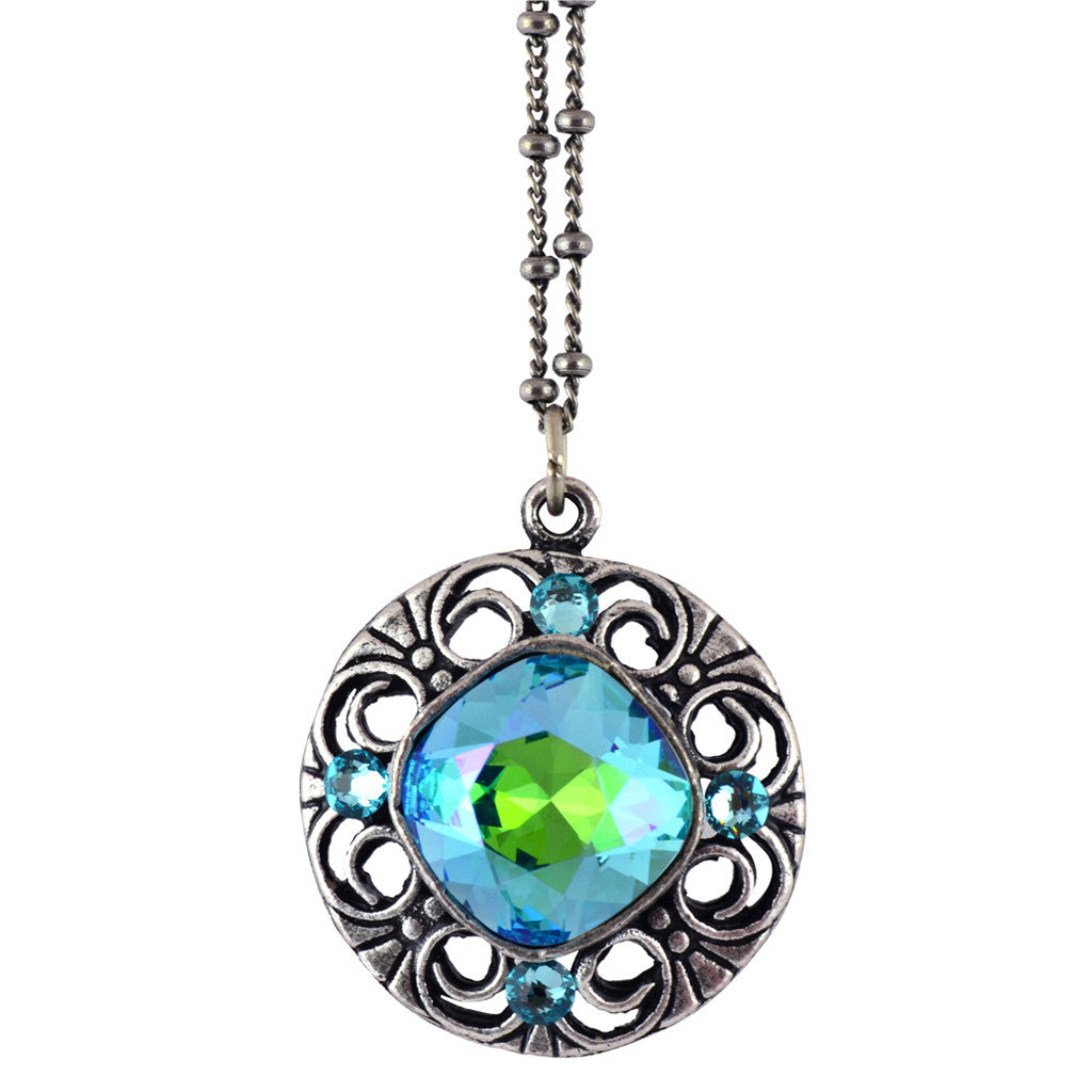 Anne Koplik Round Stone Ornament Pendant Necklace, Silver Plated