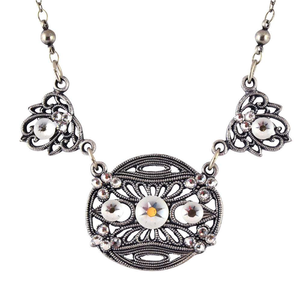 Anne Koplik Oval Disk Pendant Necklace, Silver Plated with Flower Accents