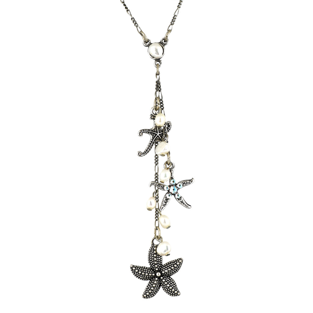 Anne Koplik Starfish Necklace, Silver Plated Pendant, 18""