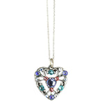 Anne Koplik Fila Heart Necklace, Silver Plated Pendant, 18