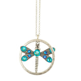 Anne Koplik Round Dragonfly Necklace, Silver Plated Pendant, 18