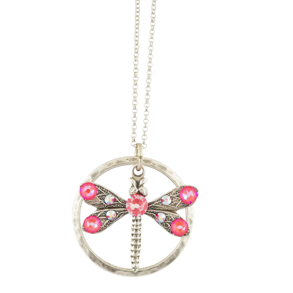 Anne Koplik Round Dragonfly Necklace, Silver Plated Pendant, 18""