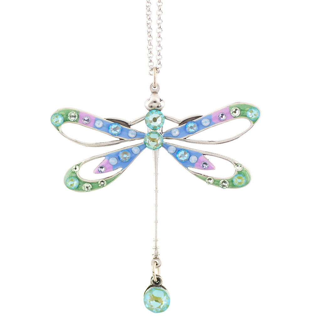 Anne Koplik Dragonfly Necklace, Silver Plated Pendant, 18""