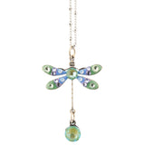 Anne Koplik Dragonfly Necklace, Silver Plated Pendant, 18
