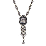 Anne Koplik Square Tray Pendant Necklace, Silver Plated Edwardian Chandelier Style