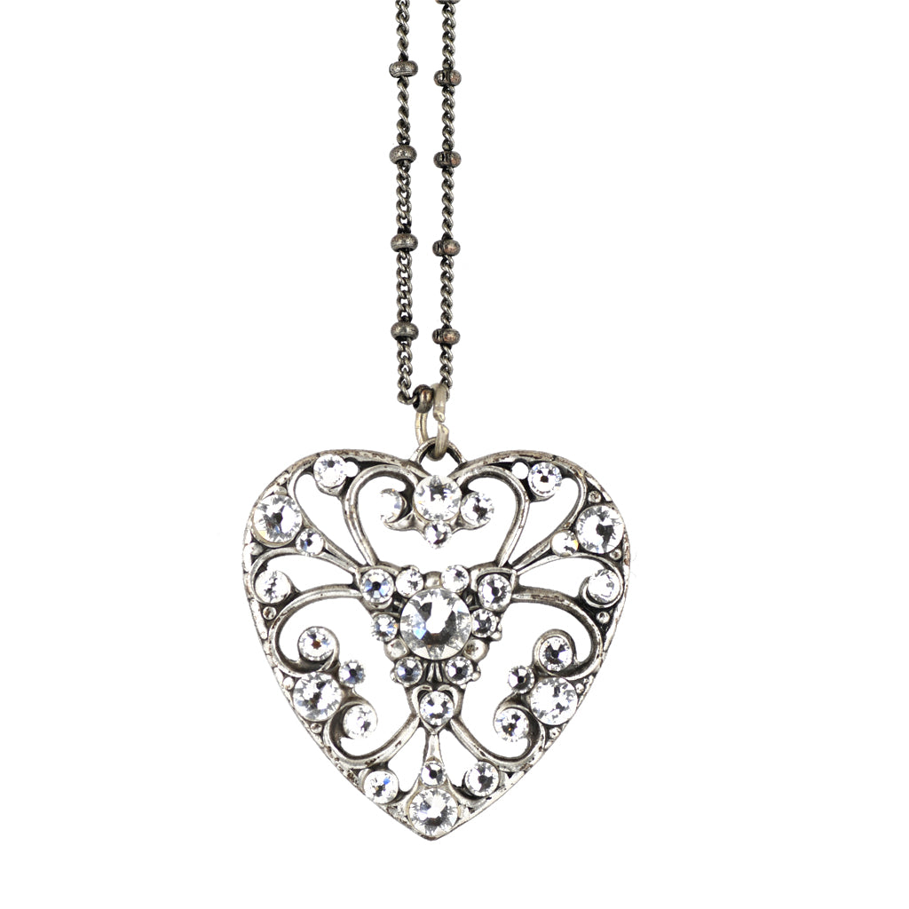 Anne Koplik Clear Crystal Heart Necklace, Silver Plated Pendant, 18""