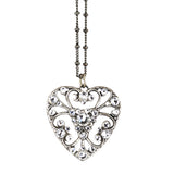 Anne Koplik Clear Crystal Heart Necklace, Silver Plated Pendant, 18