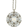 Anne Koplik Filigree Crystal Necklace, Silver Plated Pendant, 18