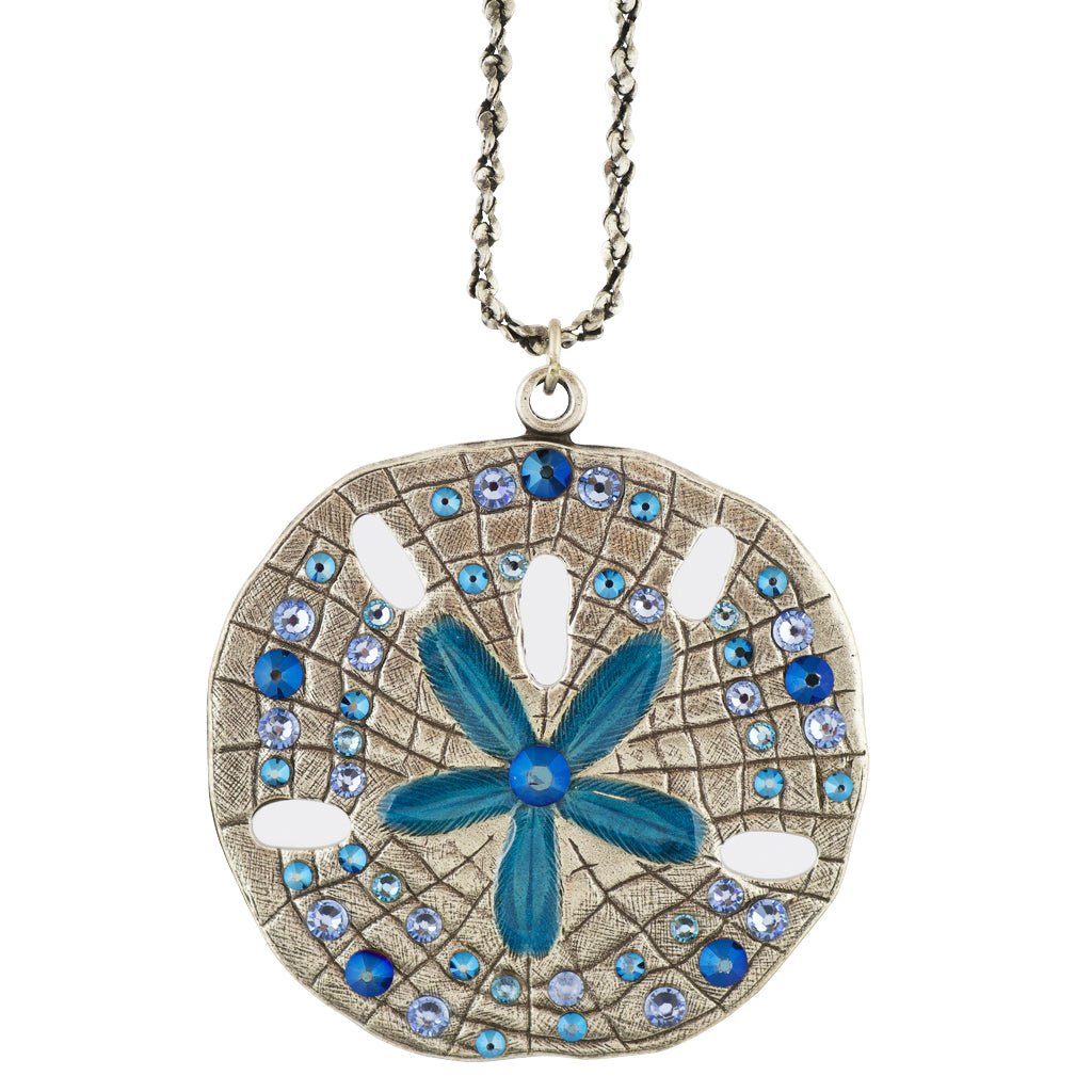 Anne Koplik Sand Dollar Necklace, Silver Plated Pendant, 18""