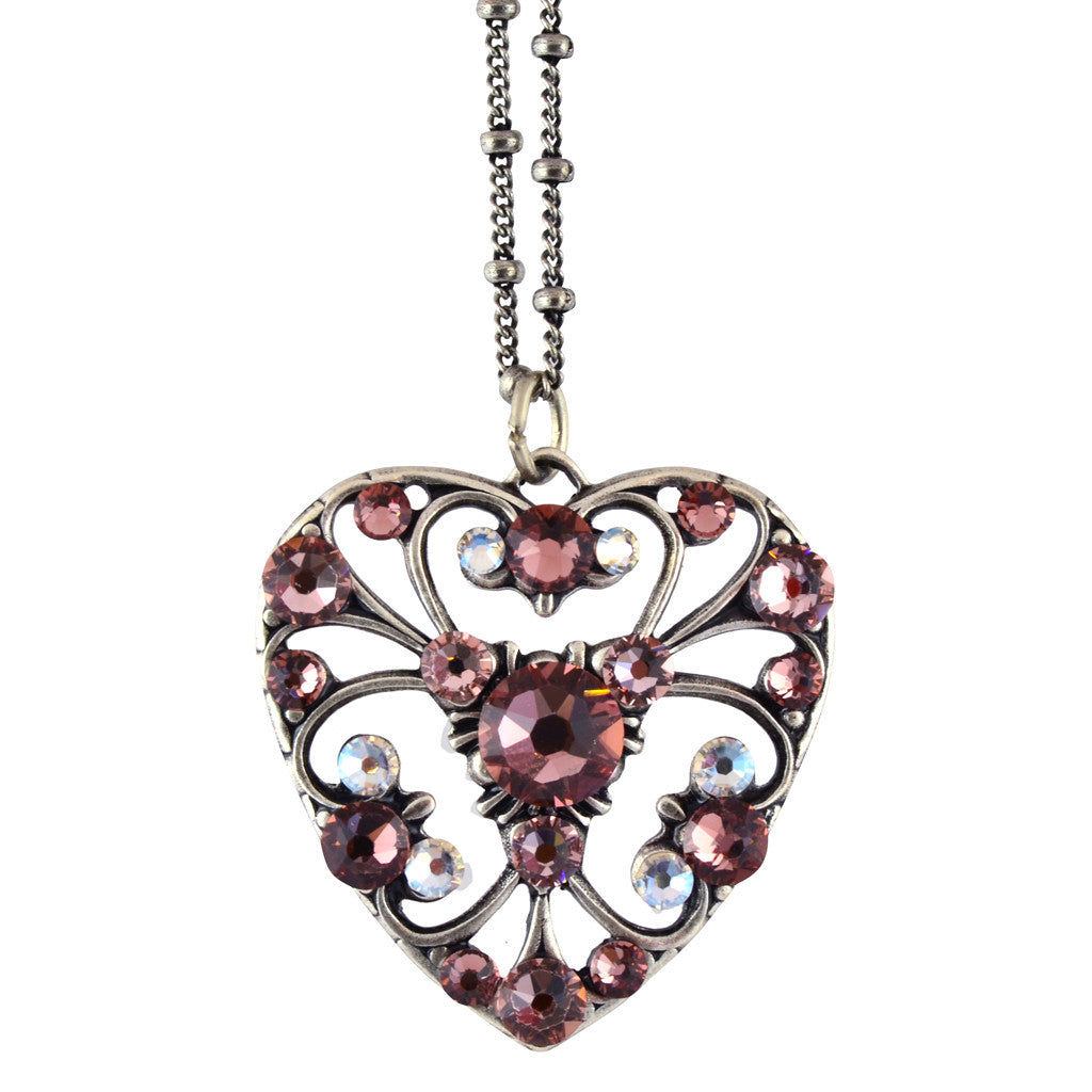 Anne Koplik Ornate Heart Pendant Necklace, Silver Plated Art Nouveau Style