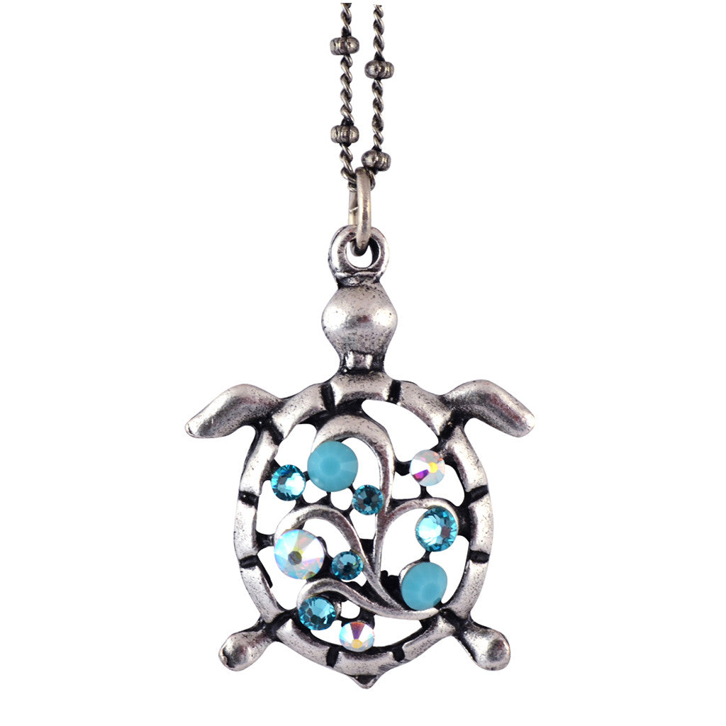 Anne Koplik Turtle Pendant Necklace, Silver Plated Sea Life Style