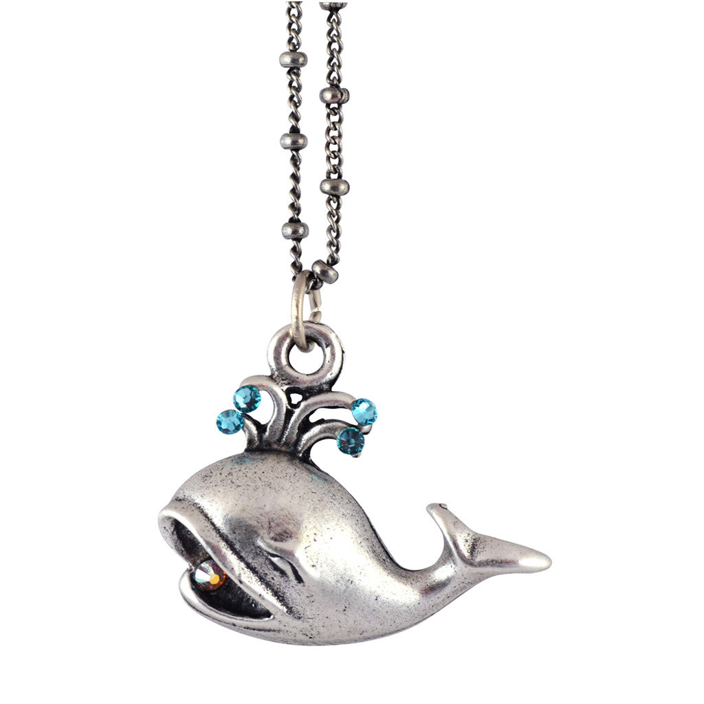 Anne Koplik Whale Pendant Necklace, Silver Plated Sea Life Style