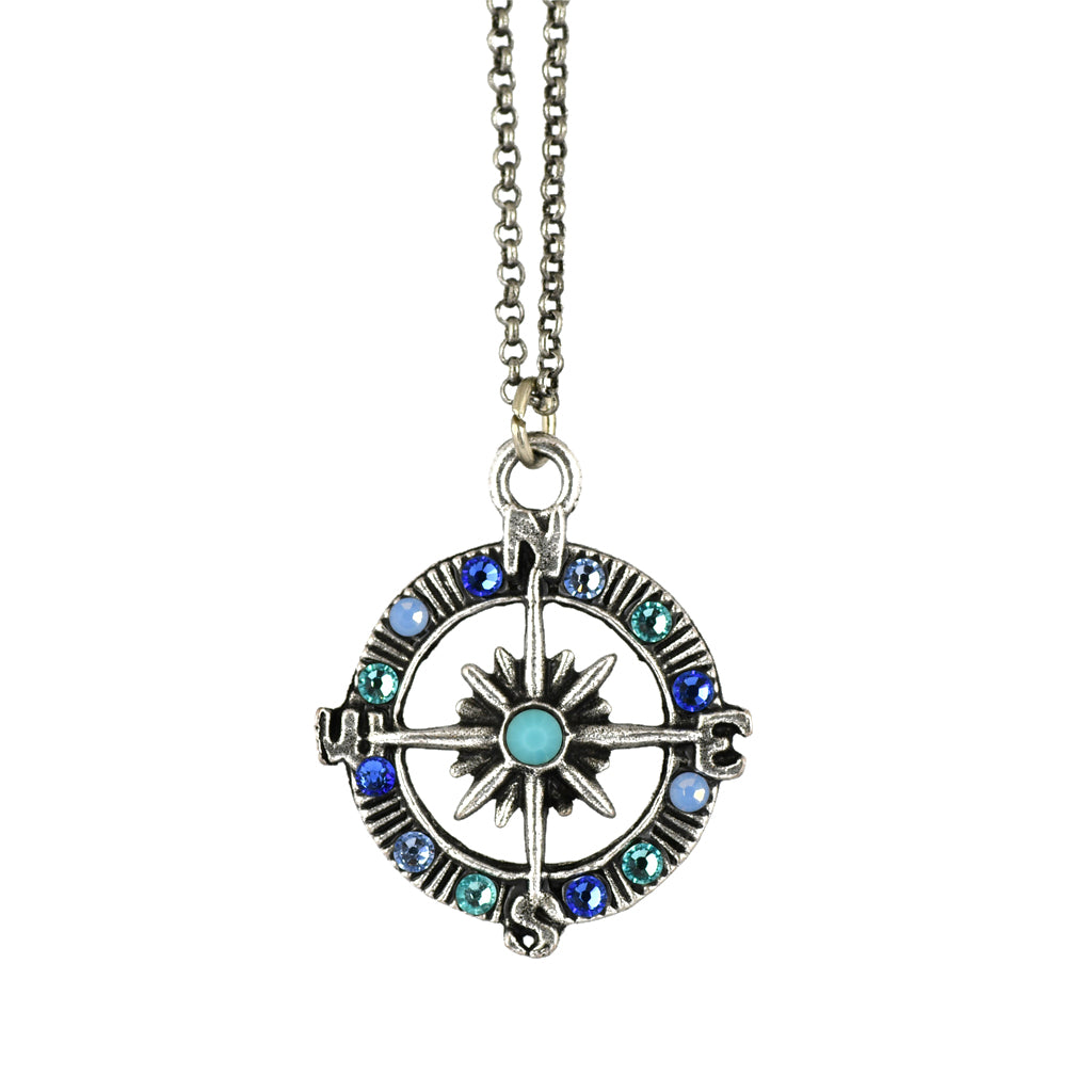 Anne Koplik Crystal Compass Necklace, Silver Plated Pendant, 18""