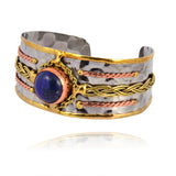 Anju Stainless Steel Cuff Bracelet with Blue Stone and Braids