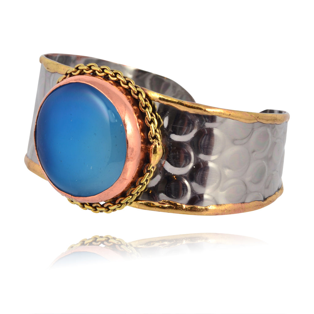 Anju Stainless Steel Cuff Bracelet with Blue Stone and Chain