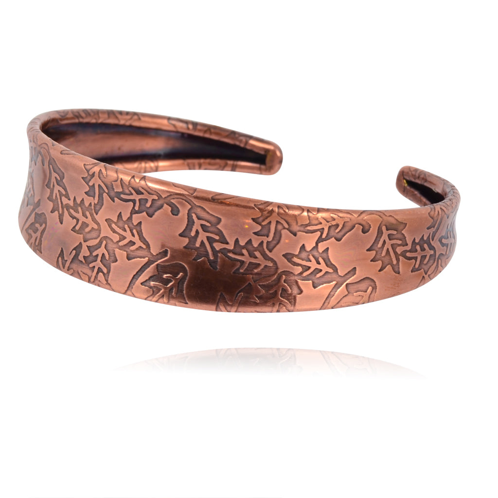 Anju Copper Cuff Bracelet with Leaves