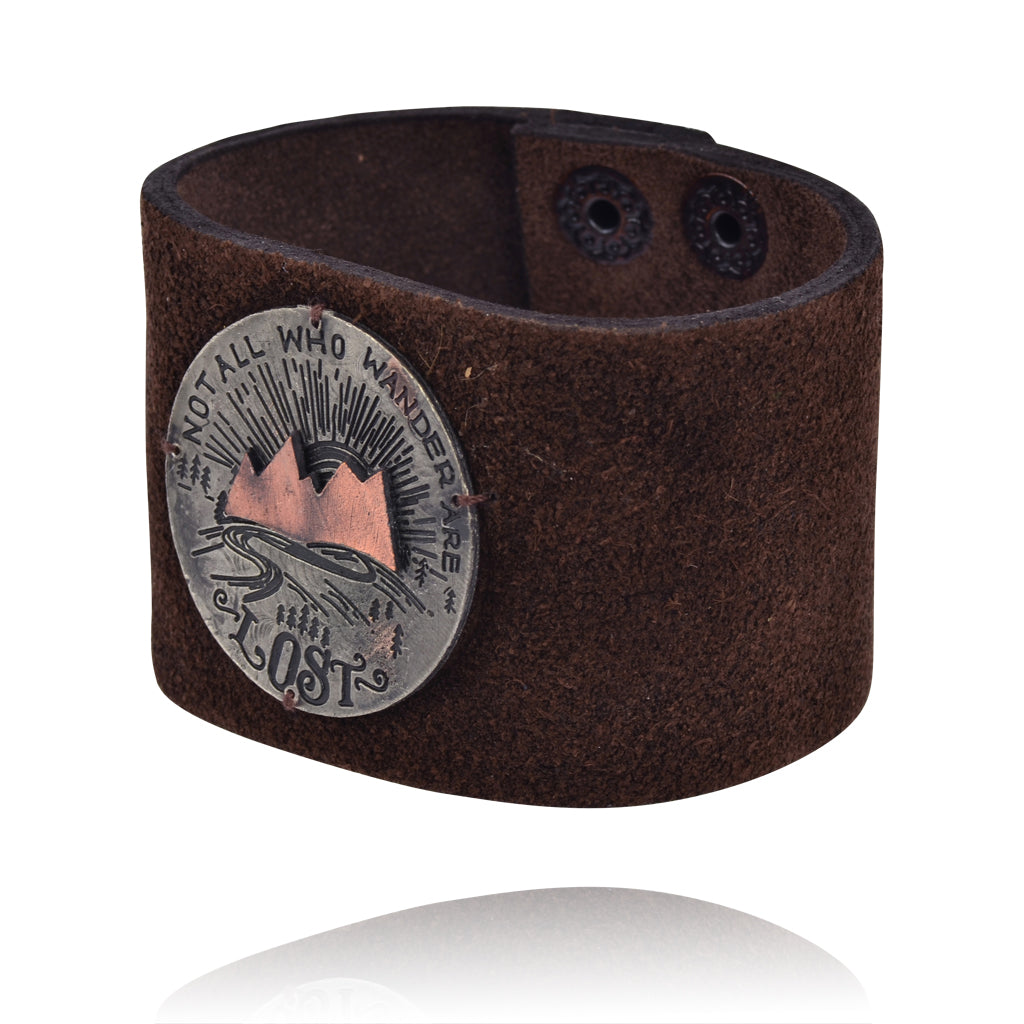 "Anju Leather ""Not All Who Wander Are Lost""  Cuff Bracelet"