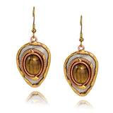 Anju Mixed Metal Shield Dangle Earrings with Brown Stone