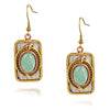 Anju Mixed Metal Rectangle Dangle Earrings with Green Stone