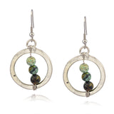 Anju Mixed Metal Round Dangle Earrings with Green Stones