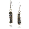 Anju Mixed Metal Rectangle Dangle Earrings with Green Stones