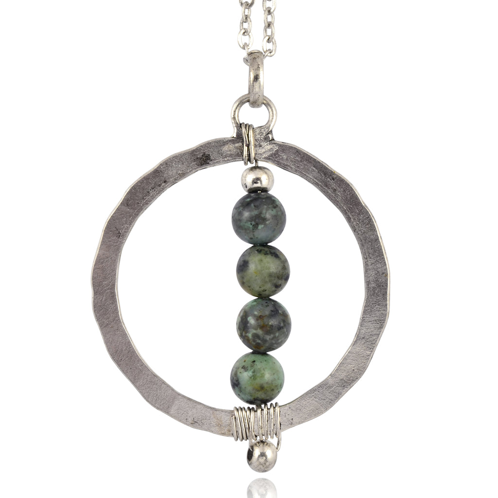pendant green necklace stone long p silver