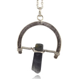Anju Silvertone Horseshoe Pendant Necklace with Green Stone