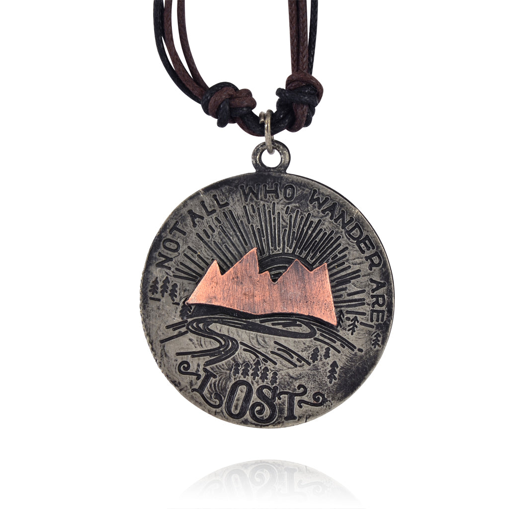 "Anju Mixed Metal ""Not All Who Wander Are Lost"" Pendant Necklace with Leather Strap"