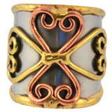 Anju Mixed Metal Adjustable Spiral Clover Cuff Ring in Stainless Steel, Brass and Copper