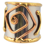 Anju Mixed Metal Adjustable Square Spiral Cuff Ring in Stainless Steel, Brass and Copper